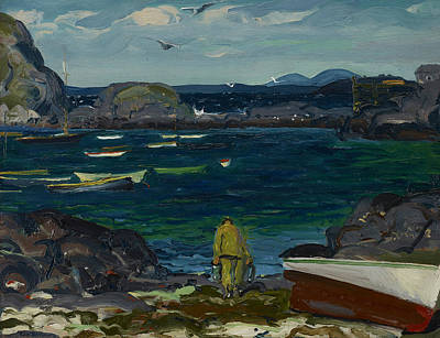 George The Painter Painting - The Harbor, Monhegan Coast, Maine by George Bellows