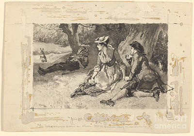 Hind Painting - The Hare Was No Sooner On Shore by William