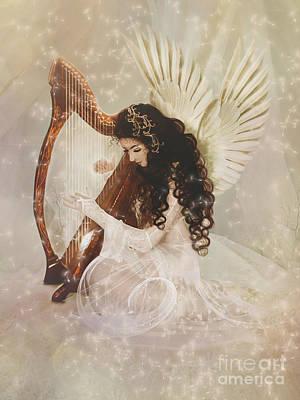 Fairies Digital Art - The Harpist by Babette Van den Berg