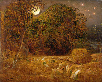 Samuel Palmer Painting - The Harvest Moon by Samuel Palmer