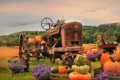 Autumn Landscape Mixed Media - The Harvester by Lori Deiter