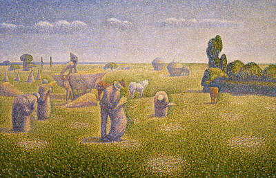 Pointillist Painting - The Harvesters by Charles Angrand