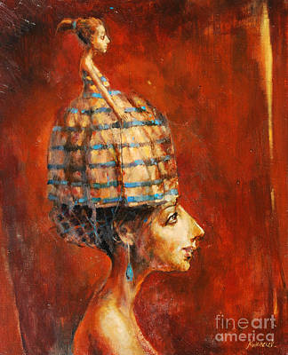 Native American Symbols Painting - The Hat Lady by Michal Kwarciak