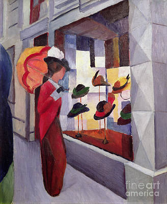 Umbrella Painting - The Hat Shop by August Macke