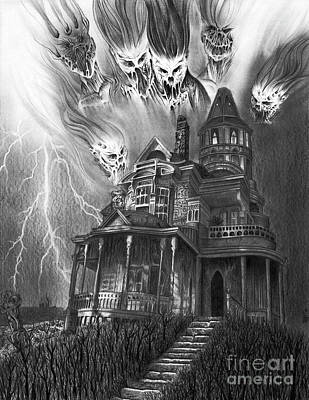 Drawing - The Haunted House by Wave Art