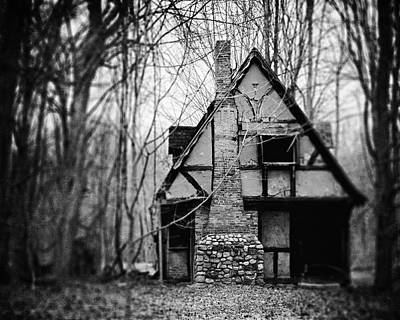The Haunted Playhouse In Black And White Print by Lisa Russo