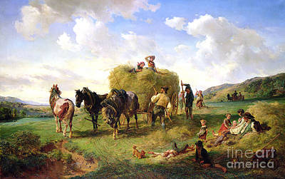Meadow Scene Painting - The Hay Harvest by Hermann Kauffmann