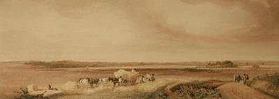 Horse And Cart Painting - The Hayfield by Peter de Wint