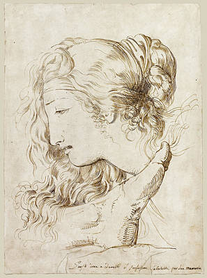 Andromache Drawing - The Head Of Andromache Mourning Over The Foot Of Hector by Luigi Sabatelli