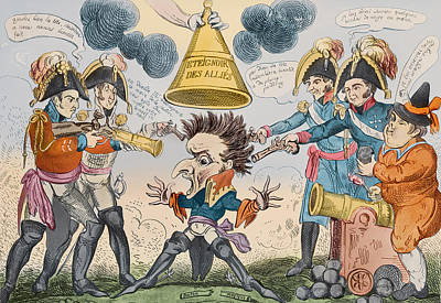 Cartoon Drawing - The Head Of The Great Nation In A Queer Situation by George Cruikshank
