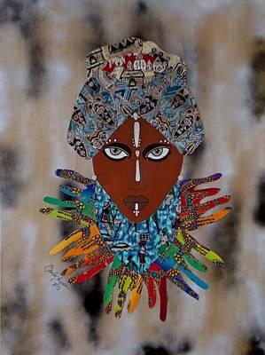 Fabric Mixed Media - The Healer by Carla J Lawson