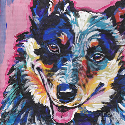 Puppy Painting - The Heeler by Lea S