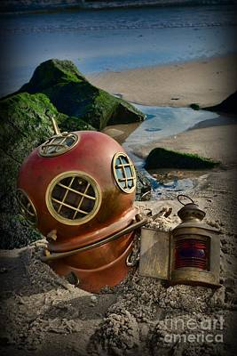 Diving Helmet Photograph - The Helmet And The Lantern by Paul Ward