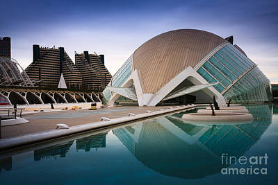 The Hemisferic In Valencia Spain  Print by Peter Noyce