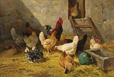 Charles Emile Jacque Painting - The Hen-roost by Charles-Emile Jacque