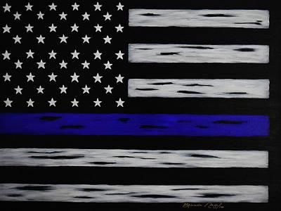 Enforcement Painting - The Heroic Thin Blue Line by Belinda Nagy