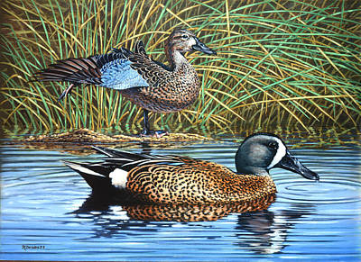 Waterfowl Painting - The Hide-away by Richard De Wolfe