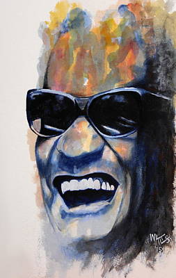 Celebrities Painting - The High Priest Of Soul - Ray Charles by William Walts