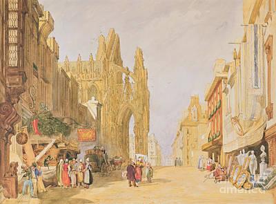 The High Street At Alencon Print by John Sell Cotman