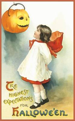 Halloween Card Photograph - The Highest Expectations For Halloween by Unknown