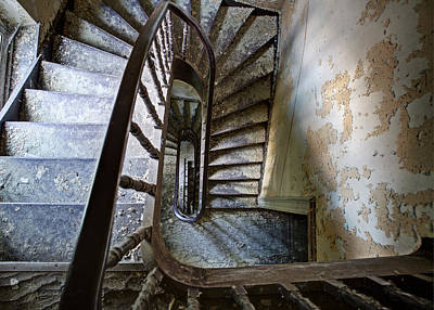 the highest floor looking down - Urbex Print by Dirk Ercken