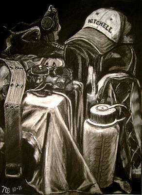 Glass Bottle Drawing - The Hiker by Nils Beasley