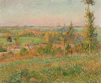 The Hills Of Thierceville Seen From The Country Lane Print by Camille Pissarro