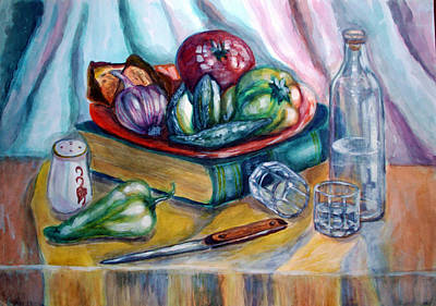Table Cloth Painting - The Historian Lunch by Katreen Queen