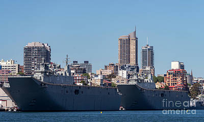 Royal Australian Navy Photograph - The H M A S Adelaide And H M A S Canberra Of The Royal Australian Navy by Kenneth Lempert
