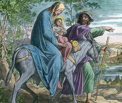 Donkey Drawing - The Holy Family And The Flight Into Egypt by German School