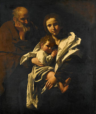 Painting - The Holy Family by Bartolomeo Cavarozzi