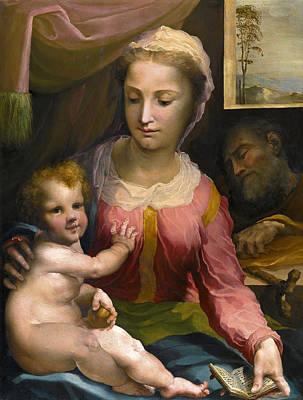 Domenico Beccafumi Painting - The Holy Family by Domenico Beccafumi