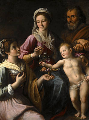Painting - The Holy Family With Saint Dorothea by Fabrizio Santafede