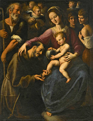 Painting - The Holy Family With Saint Francis Of Assisi Adoring The Christ Child With Two Youths And Angels Abo by Fabrizio Santafede