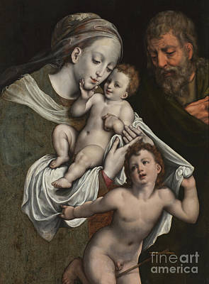 The Holy Family With The Infant St John Print by Cornelis van Cleve