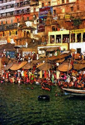 The Holy Ganges Impasto Print by Steve Harrington