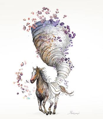 Pen Digital Art - The Horse by Kristina Vardazaryan