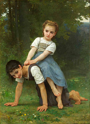William-adolphe Bouguereau Painting - The Horseback Ride by William-Adolphe Bouguereau
