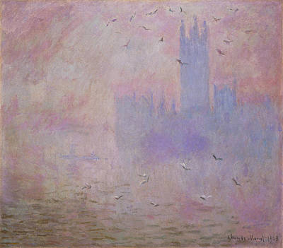 Outlook Painting - The Houses Of Parliament, Seagulls by Claude Monet