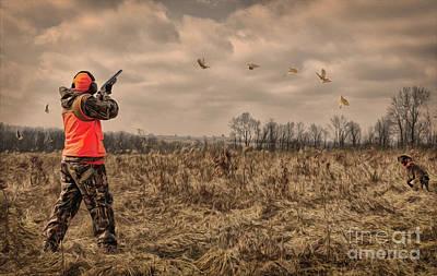 Pheasant Digital Art - The Hunt The Kill by Brian Mollenkopf