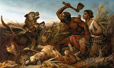 Slave Painting - The Hunted Slaves by Richard Ansdell