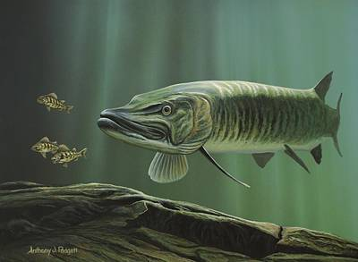 Musky Painting - The Hunter - Musky by Anthony J Padgett