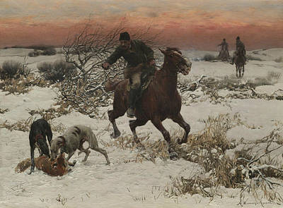 Polish Painters Painting - The Hunters by Alfred Kowalski
