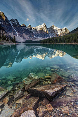 Mountain Reflection Lake Summit Mirror Photograph - The Iconic Moraine Lake by Pierre Leclerc Photography