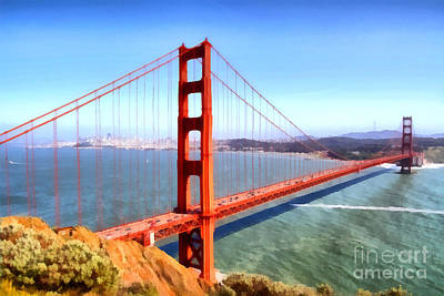 Tourist Attraction Digital Art - The Iconic San Francisco Golden Gate Bridge . 7d14507 by Wingsdomain Art and Photography