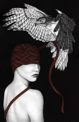 Red Tail Hawk Painting - The Inability To Let Go by Pat Erickson