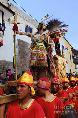 Winter Solstice Photograph - The Inca Parades Through The Streets Of Cusco by James Brunker