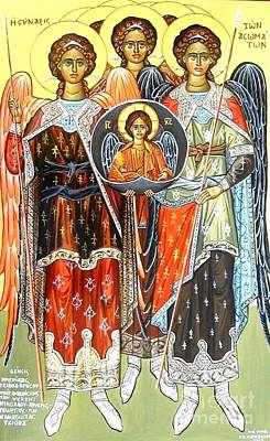 Byzantine Icon Painting - The Incorporeals Meeting  by George Siaba