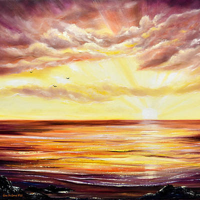 Sea Painting - The Incredible Journey - Square Sunset by Gina De Gorna