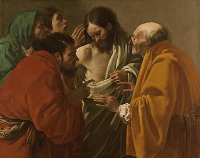 Incredulity Painting - The Incredulity Of Saint Thomas by Hendrick ter Brugghen